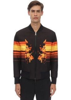 Neil Barrett Flame Print Techno Bomber Jacket