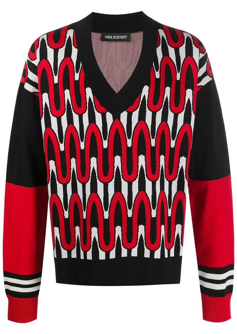 Neil Barrett geometric knit jumper