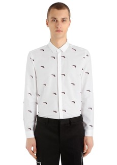 Neil Barrett Guns Printed Cotton Blend Poplin Shirt