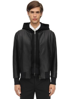 Neil Barrett Hooded Leather Bomber Jacket