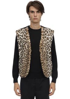 Neil Barrett Leopard Print Faux Fur Tech Vest