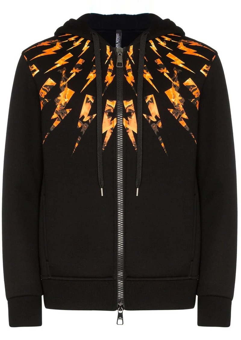 Neil Barrett lightning bolt zip hoodie
