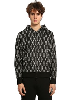 Neil Barrett Logo Techno Jersey Zip-up Hoodie
