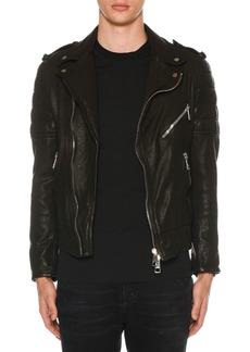 Neil Barrett Men's Buffalo Leather Biker Jacket