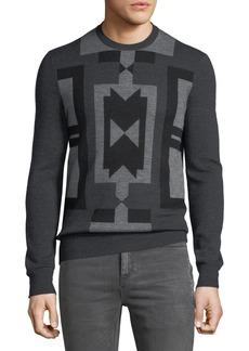 Neil Barrett Men's Deco Modernist Wool Sweater