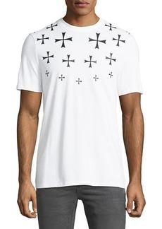 Neil Barrett Men's Fair Isle Military Star Crewneck Short-Sleeve Cotton T-Shirt
