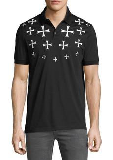 Neil Barrett Men's Fair Isle Military Star Polo Shirt
