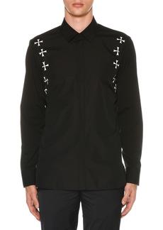 Neil Barrett Men's Military Star Poplin Shirt
