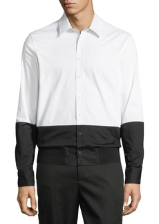 Neil Barrett Men's Two-Tone Rib-Hem Button-Down Shirt