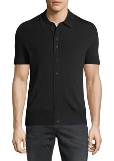 Neil Barrett Button-Front Wool-Blend Polo Shirt