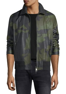 Neil Barrett Camo Lamb Leather Bomber Jacket