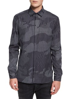 Neil Barrett Chalk-Stripe Camo Sport Shirt