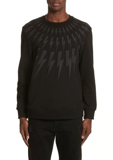 Neil Barrett Fair Isle Lightning Bolt Print Sweatshirt