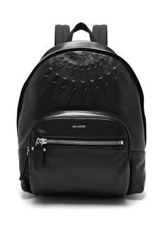 Neil Barrett Lightning-bolt embossed leather backpack