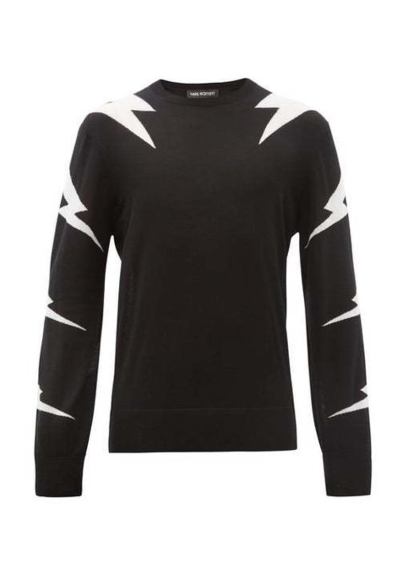 Neil Barrett Lightning Bolt-intarsia wool-blend sweater