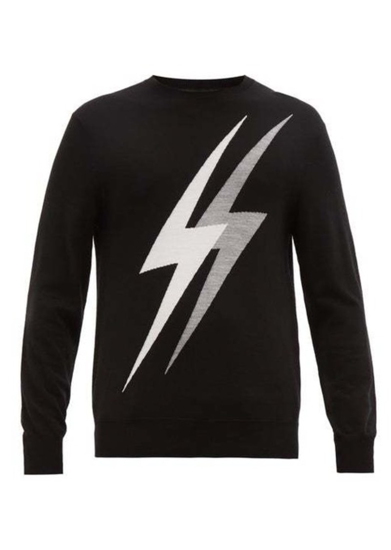 Neil Barrett Lightning bolt-intarsia wool-blend sweater