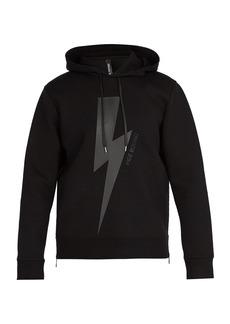 Neil Barrett Lightning-bolt jersey hooded sweatshirt
