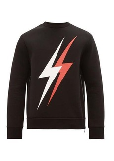 Neil Barrett Lightning bolt-logo side-zip sweatshirt