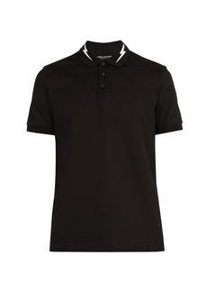 Neil Barrett Lightning bolt-print cotton polo shirt