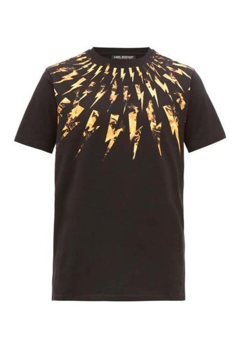 Neil Barrett Lightning bolt-print cotton T-shirt