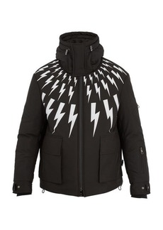 Neil Barrett Lightning bolt-print hooded ski jacket