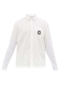 Neil Barrett Logo-embroidered slubbed cotton-blend shirt