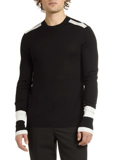 Neil Barrett Men's Crewneck Wool Sweater with Stripes