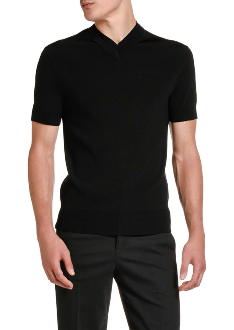 Neil Barrett Men's Double V-Neck Solid T-Shirt