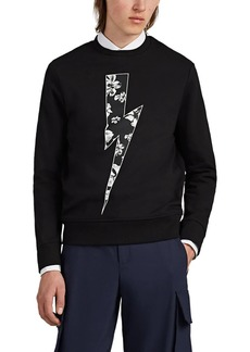 Neil Barrett Men's Floral-Bolt Cotton Terry Sweatshirt