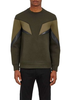 Neil Barrett Men's Geometric-Inset Neoprene Sweatshirt