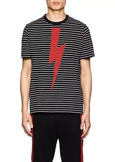 Neil Barrett Men's Graphic Striped Cotton T-Shirt