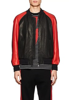 Neil Barrett Men's Lightning-Bolt Leather Varsity Jacket
