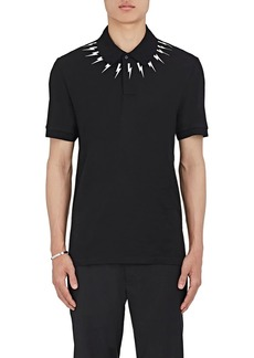 Neil Barrett Men's Lightning-Bolt-Print Cotton Piqué Polo Shirt