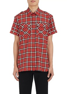 "Neil Barrett Men's ""Pierced"" Plaid Cotton Shirt"