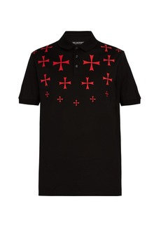 Neil Barrett Military star cotton polo shirt