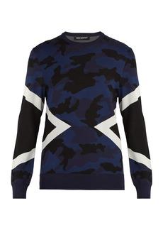 Neil Barrett Modernist camouflage intarsia sweater