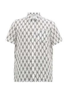 Neil Barrett Monogram-print satin short-sleeved shirt