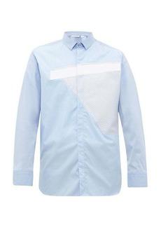 Neil Barrett Panelled multi-pinstriped cotton-blend shirt