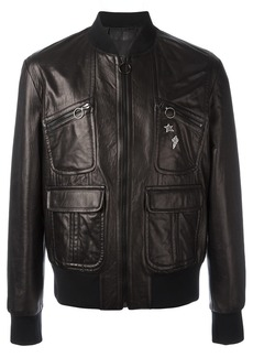 Neil Barrett pins leather bomber jacket