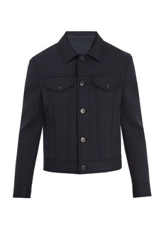 Neil Barrett Point-collar striped wool bomber jacket