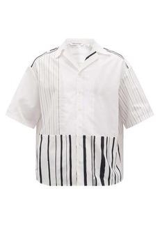 Neil Barrett Striped Cuban-collar poplin shirt