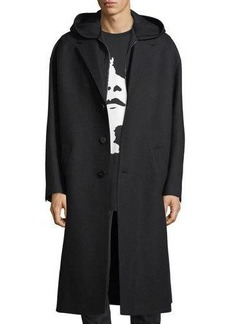 Neil Barrett Sweatshirt-Lined Oversized Wool Coat
