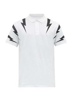 Neil Barrett Thunderbolt-print cotton polo shirt