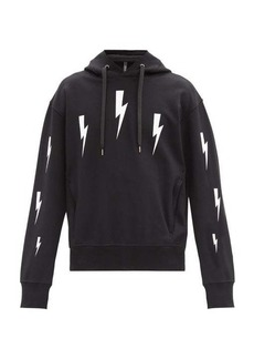 Neil Barrett Thunderbolt-print jersey hooded sweatshirt