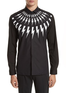 Neil Barrett Trim Fit Thunderbolt Graphic Sport Shirt