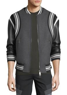 Neil Barrett Wool Varsity Bomber Jacket w/ Faux-Leather Sleeves