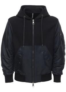 Neil Barrett Nylon Bomber Jacket W/ Jersey Hoodie