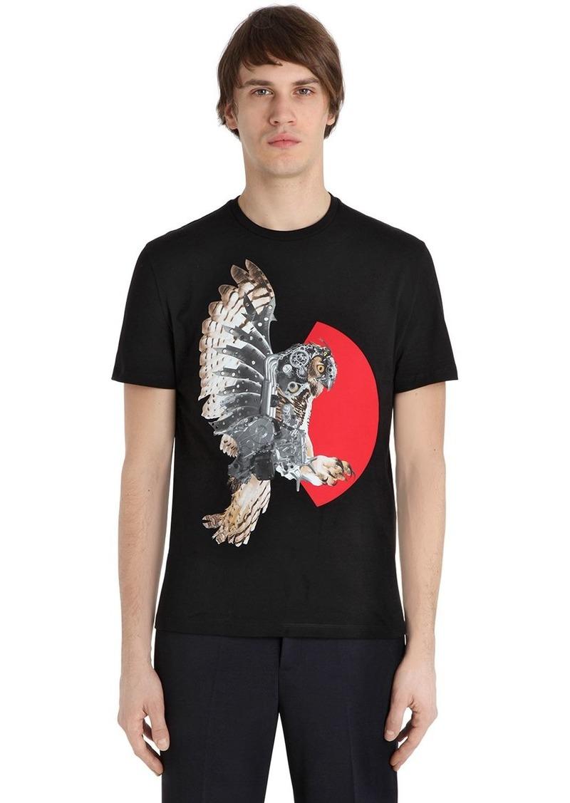 Neil Barrett Owl Printed Cotton Jersey T-shirt