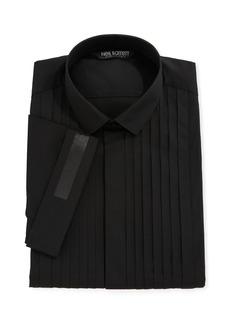 Neil Barrett Pleated-Bib Short-Sleeve Tuxedo Shirt