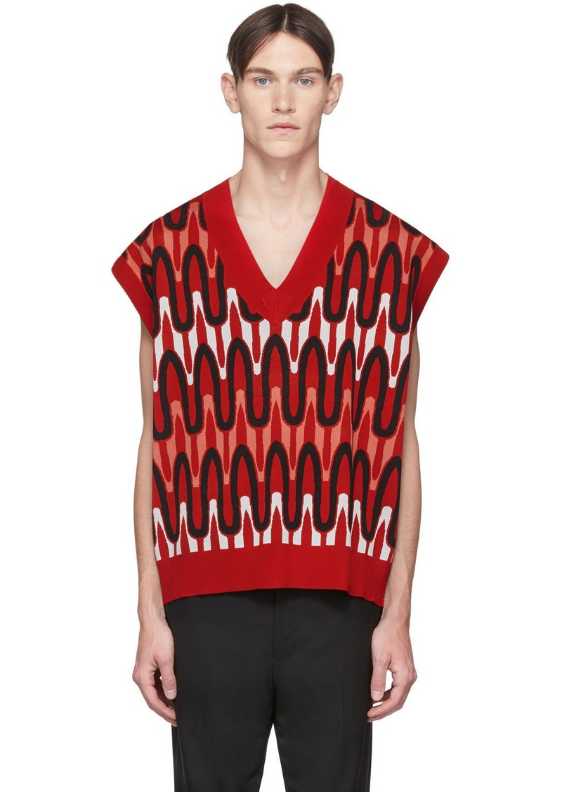 Neil Barrett Red Scribble Striped Sweater Vest